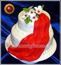 Torta con ramo en caida con flores blancas y brocato- repostería Artesanal - Decoración Artística - servicio de lunch- www.mariafranco.com