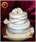 Torta de Bodas en color champagne y dorado -Reposteria Artistica - Servicio de lunch - Chocolateria Artesanal - Sandwich de miga - www.mariafranco.com